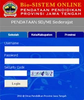 Aplikasi Basis Data Online Pendidikan Jawa Tengah untuk entry data peserta Ujian Nasional dan entry nilai ujian Nasional